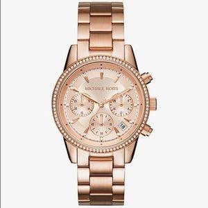 Michael Kors Chronograph Ritz Rose Gold-Tone Watch